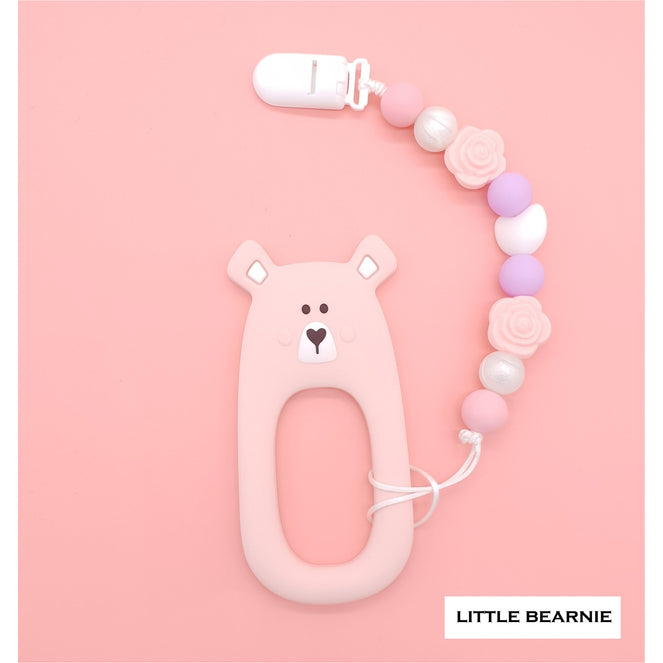 Little Bearnie Modern Baby Teether Clip Set - Shy Bear (Pink)