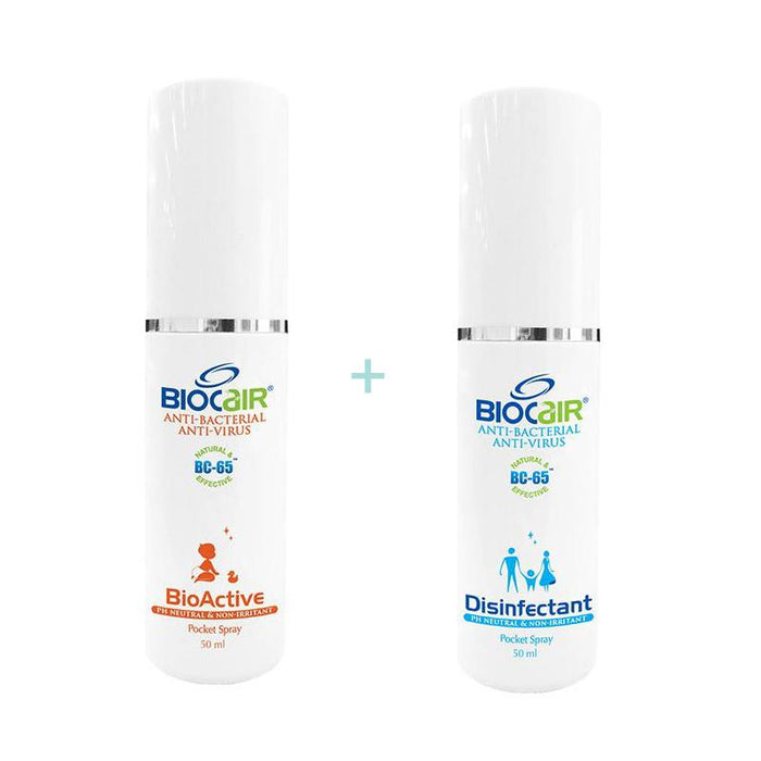 BioCair Disinfectant Anti-Bacterial Anti- Virus Pocket Spray + BioActive Anti-HFMD Pocket Spray