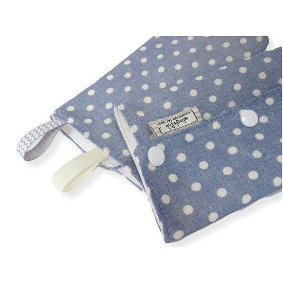 Jingle Drool Pad - Blue Chambray Polka Dots