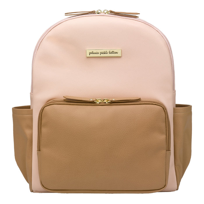 Petunia Pickle Bottom District Backpack: Blush/Camel Leatherette