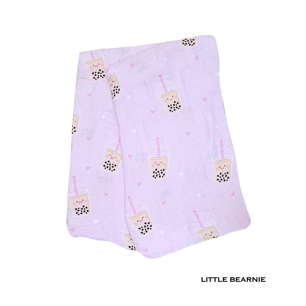 Little Bearnie Swaddle / Baby Blanket - Boba Love (Pink)