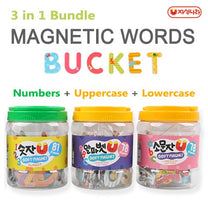 Momsboard Magnetic Words Bucket – 3 sets (Upper+Lower+Numbers)
