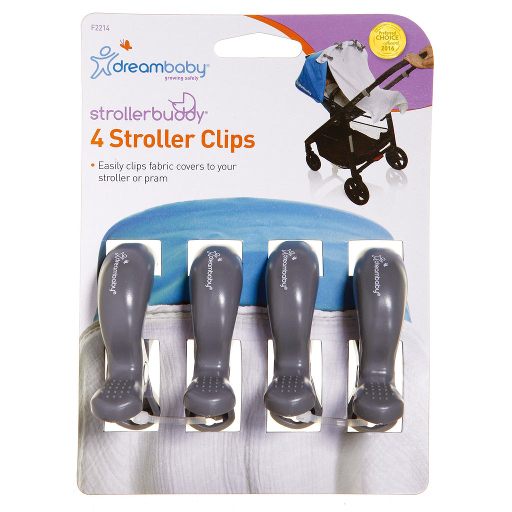 Dreambaby (30) Stroller Clips 4pk - Grey