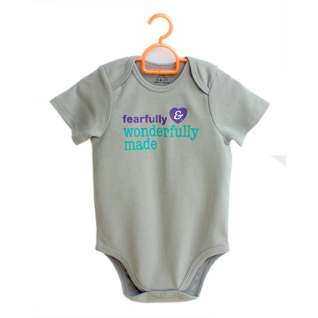 Fearfully Wonderfully Made onesies for babies by Glorious Seed your source of Christian inspired baby and children clothes