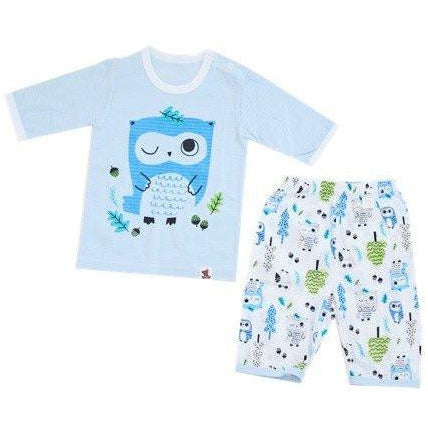 Puco Jacquard Pyjamas Set - Forest Owl Blue