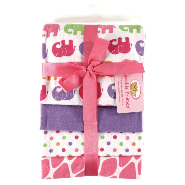 Luvable Friends Flannel Receiving Blanket Set  - 4-Pack - Little Baby