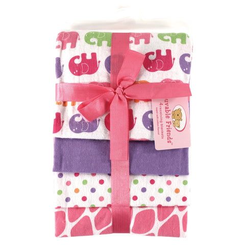 Luvable Friends Flannel Receiving Blanket Set  - 4-Pack