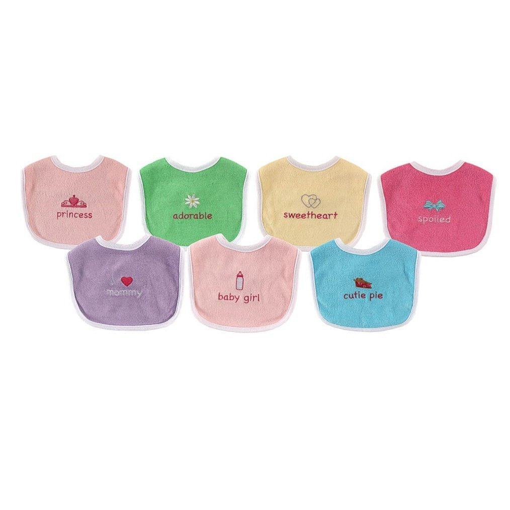 Luvable Friends 7-Pack Embroidered Sayings Baby Bibs - Little Baby