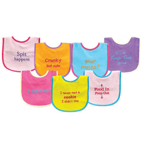 Luvable Friends 7-Pack Bold Sayings Baby Bibs