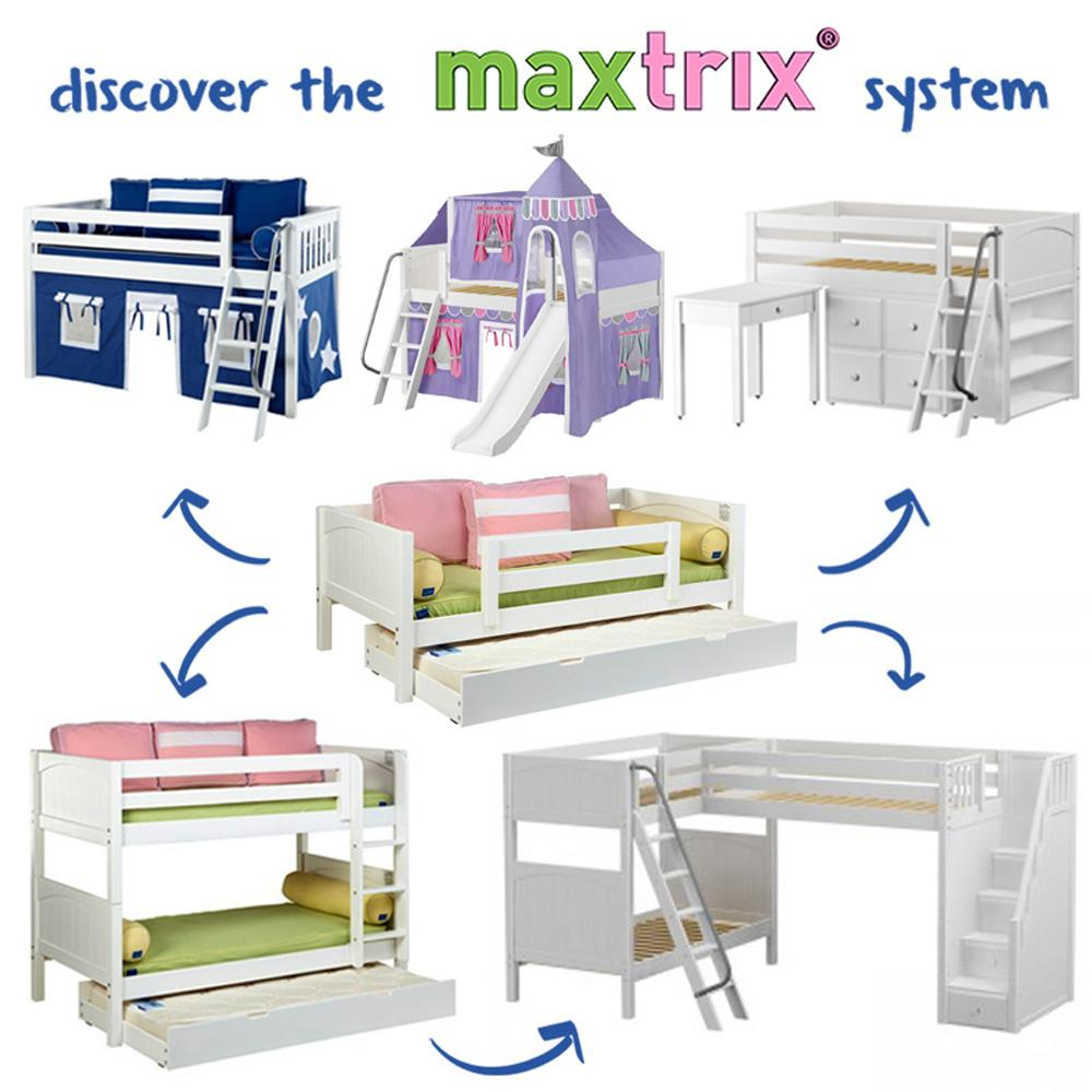 Maxtrix Low Loft w Angled Ladder w Slide w Curtains