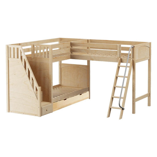 Maxtrix Corner High Loft Bunk (Angled/Staircase) w Trundle