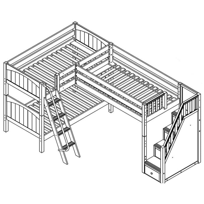 Maxtrix Corner Mid Loft Low Bunk (Angled/Staircase)
