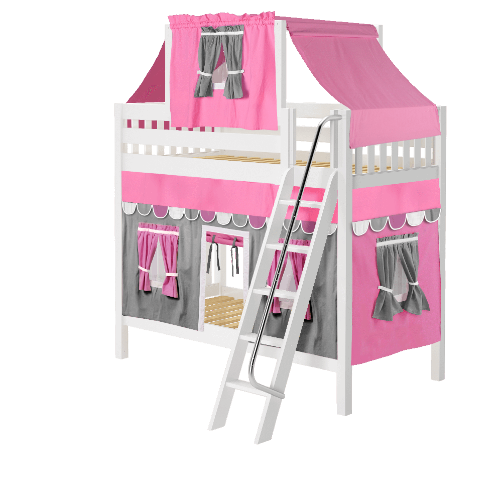 Maxtrix High Bunk w Angled Ladder w Curtains w Top Tent