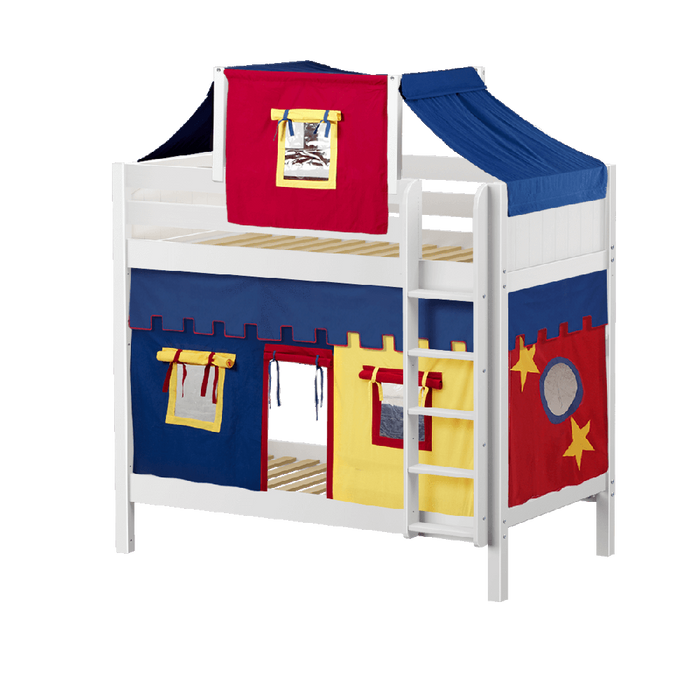 Maxtrix High Bunk w Mounted Ladder w Curtains w Top Tent
