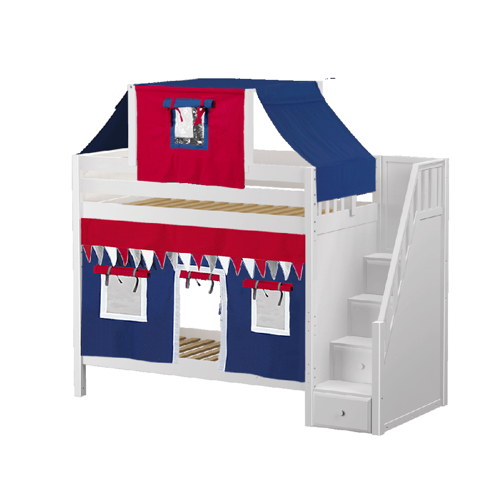 Maxtrix High Bunk w Staircase w Curtains w Top Tent