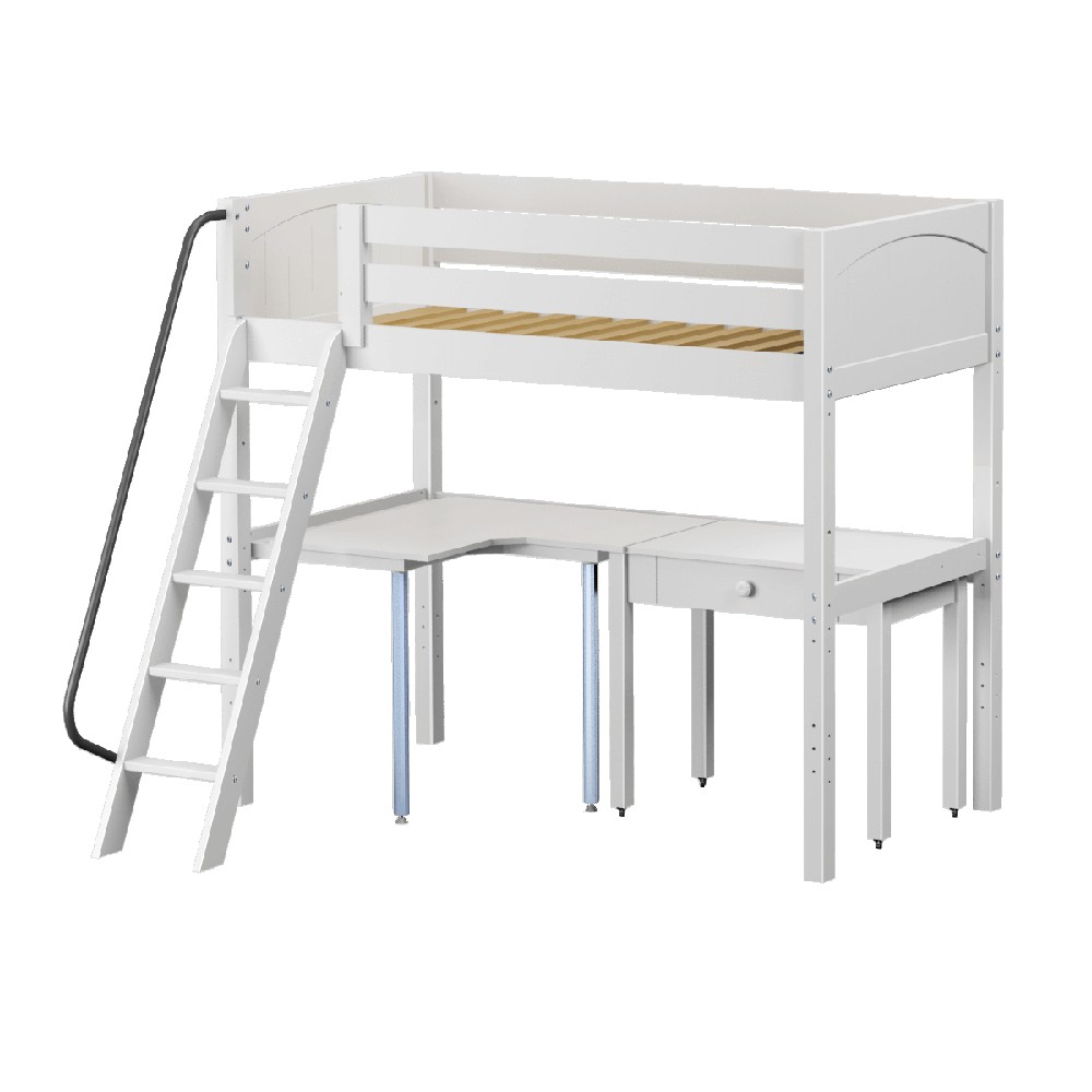 Maxtrix High Loft w Angled Ladder w Corner Table w Student Desk