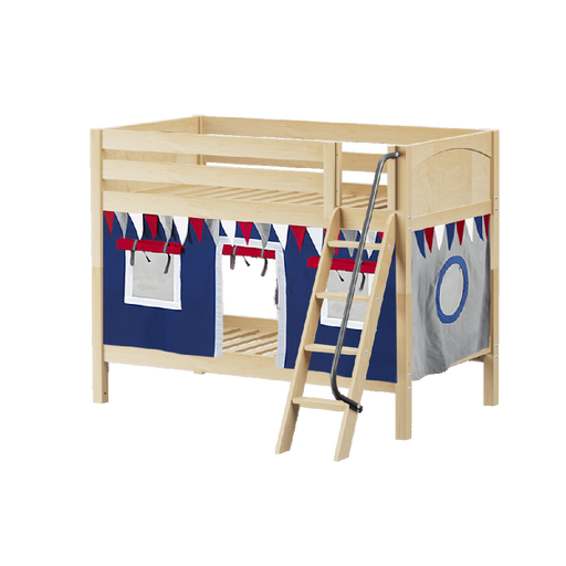 Maxtrix Low Bunk w Angled Ladder w Curtains