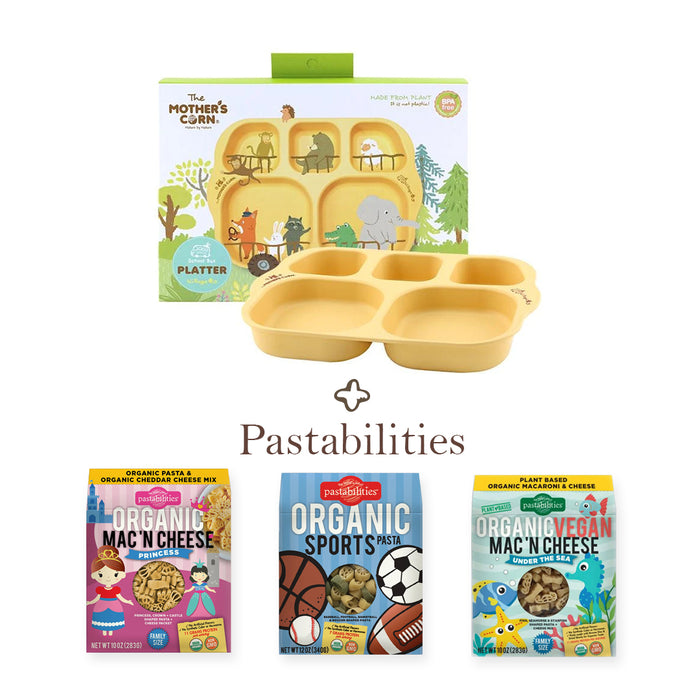 Mother's Corn School Bus Platter with Pastabilities Organic Shaped Pasta - Delicious PWP at 50% OFF!