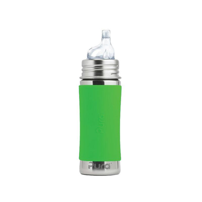 Pura PR325NSS/G 325ml Feeding Bottle Sippy Spout & Sleeve - Green