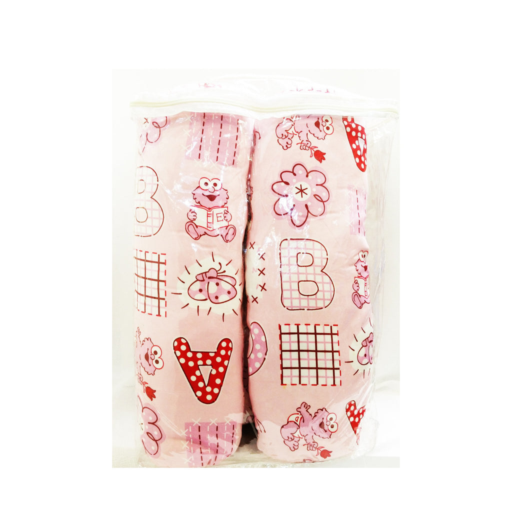 Sesame 2 Bolster & 1 Pillow Set - ABC Pink - Little Baby