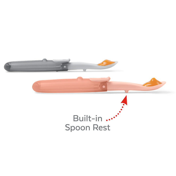 Skip Hop Easy-Fold Travel Spoons - Grey/Soft Coral