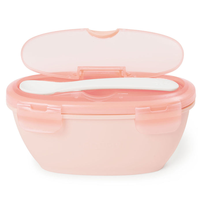 Skip Hop Easy-Serve Travel Bowl & Spoon- Soft Coral