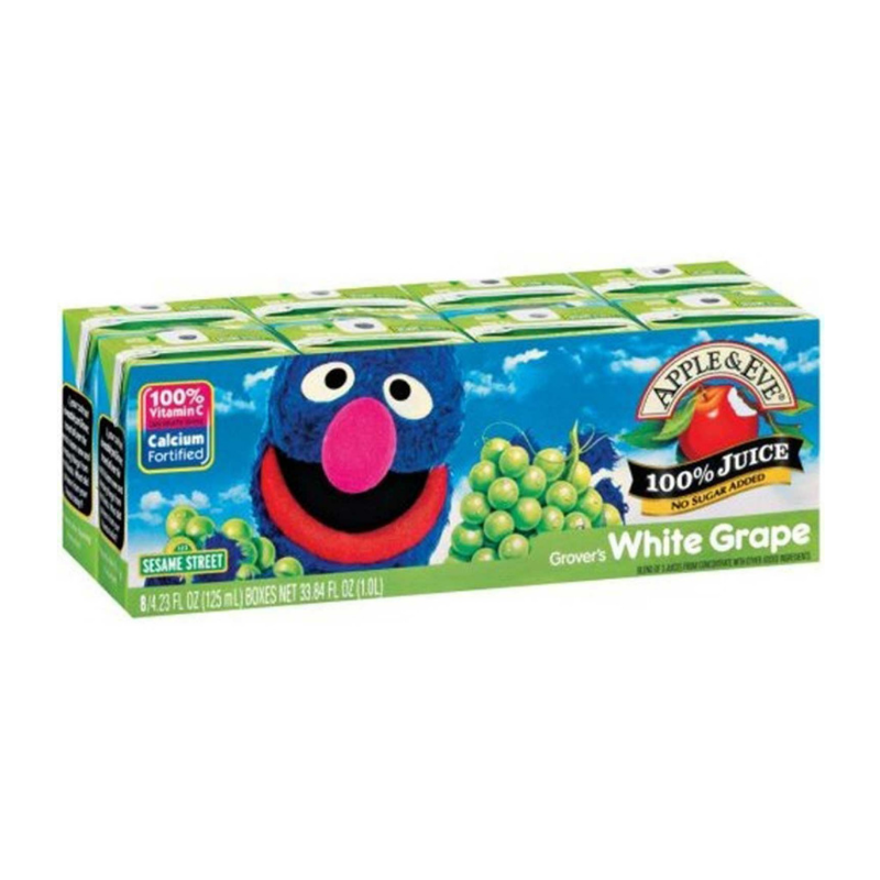 Apple & Eve Sesame Street - Grover's White Grape, 8 x 125 ml.