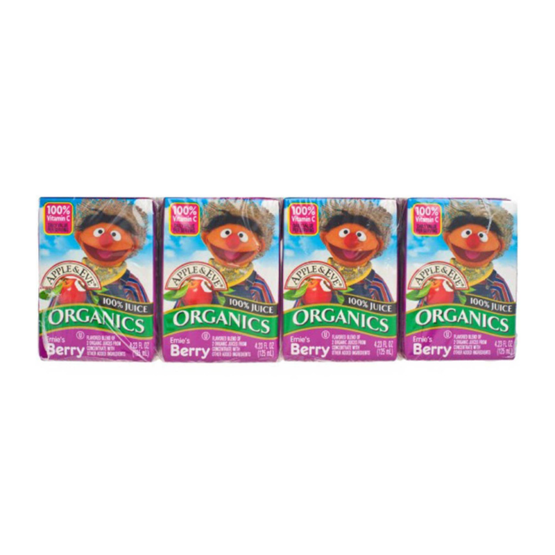 Apple & Eve Sesame Street Organics - Ernie's Berry, 4 x 125 ml.