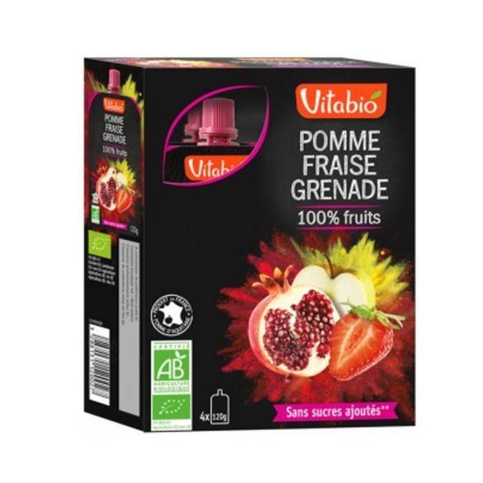 Vitabio Organic Apple-Strawberry-Pomegranate, 4x120g