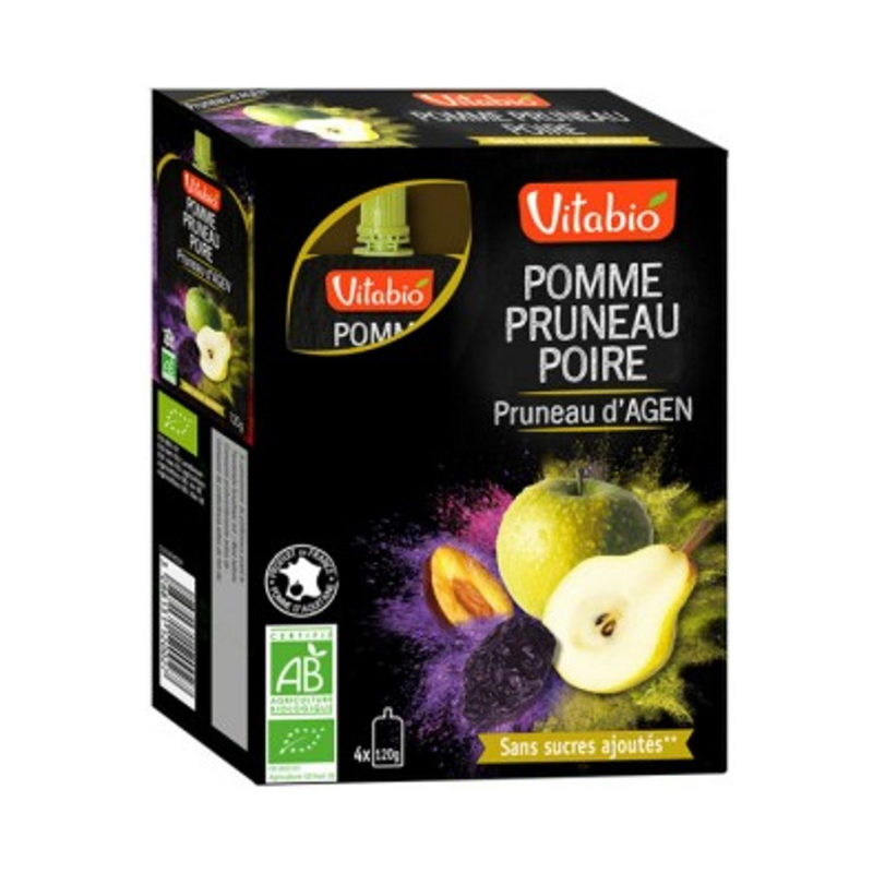 Vitabio Organic Apple-Prune-Pear, 4x120g