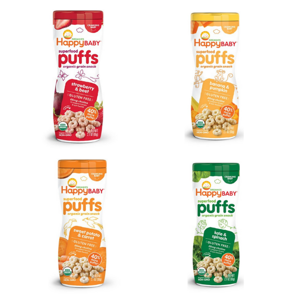 [Bundle Deal] Happy Family Happy Baby Superfood Puffs (Gluten-Free), 60g. (Choose any 3)
