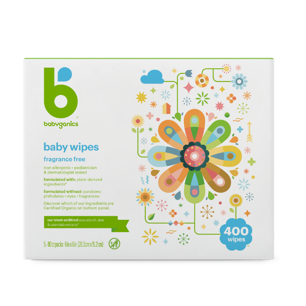 Babyganics Baby Wipes, Fragrance Free - 400 sheets