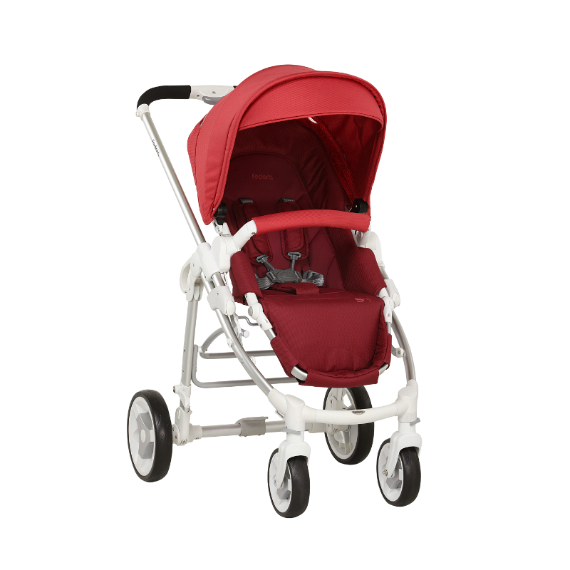 Fedora S9 White Stroller - Cherry Red - Little Baby