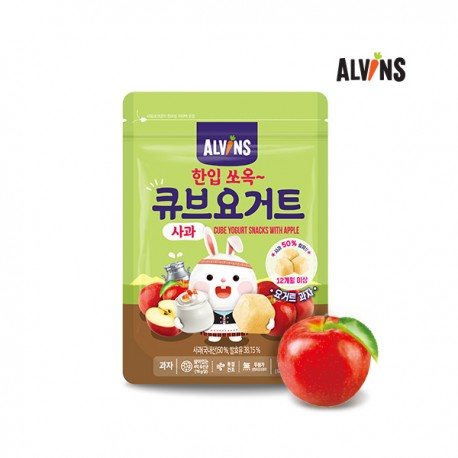 ALVINS Korean Baby Bite-Size Cube Yogurt Snack - Apple