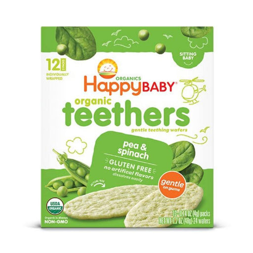 Baby Food - Happy Family Happy Baby Gentle Teethers - Pea & Spinach, 12 X 4 G.