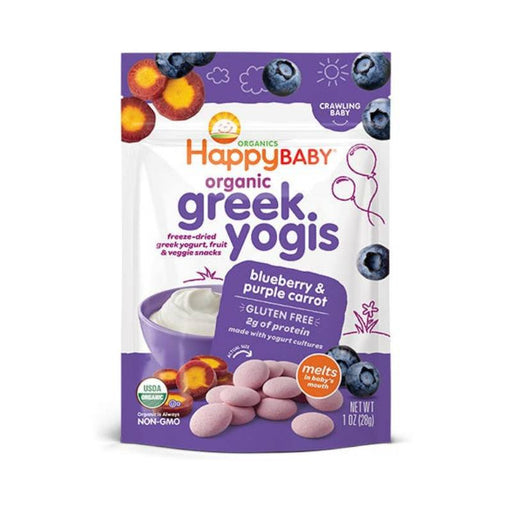 Baby Food - Happy Family Happy Baby Organic Greek Yogis - Blueberry Purple Carrot, 28 G.