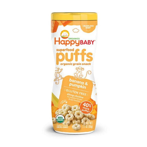 Baby Food - Happy Family Happy Baby Superfood Puffs - Banana & Pumpkin (Gluten-Free), 60 G.