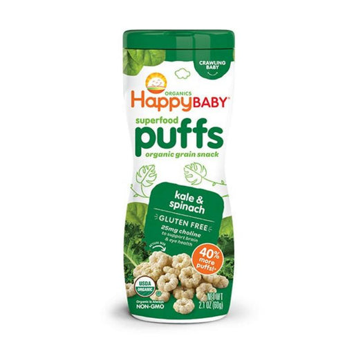 Baby Food - Happy Family Happy Baby Superfood Puffs - Kale & Spinach (Gluten-Free), 60g.