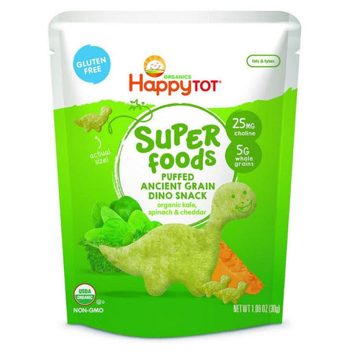 Baby Food - Happy Family Happy Tot Super Foods Puffed Ancient Grain Dino Snack - Kale, Spinach & Cheddar, 42 G.