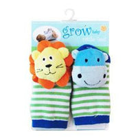 Baby Socks - Grow Baby Lion And Hippo Rattle Feet