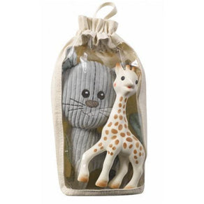 Baby Teether - Sophie The Giraffe Set: Soft Lazare The Cat & Sophie The Giraffe