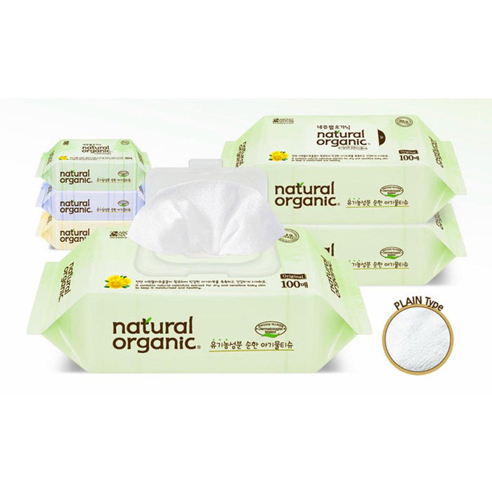 Baby Wipes - Natural Organic Original Plain Refilled 100sheets X 10packs
