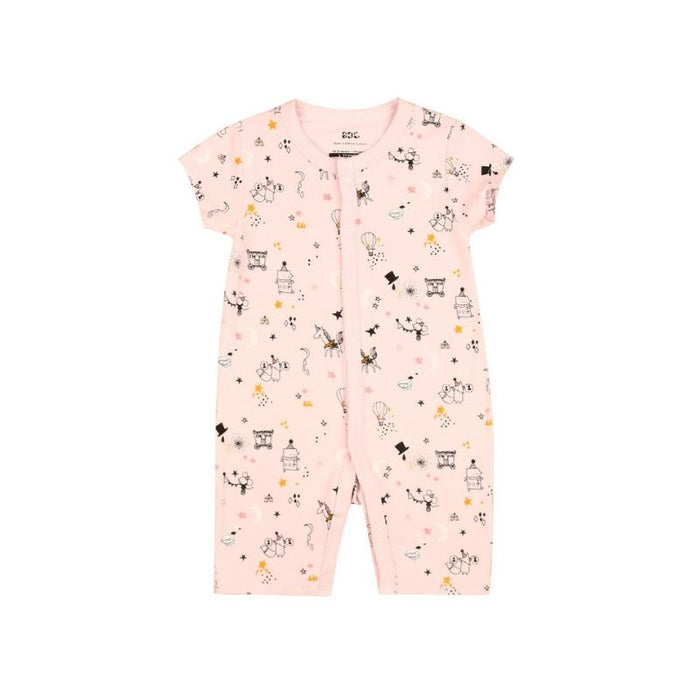 Bamboo Clothes - Baby's Dream Garden Pink Circus Flat Bottom Short Sleeve Onesie