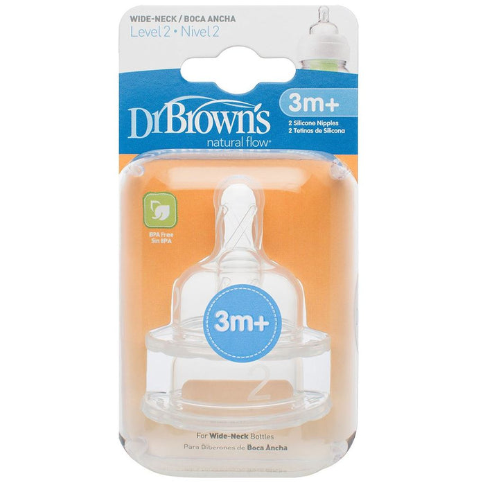 Bottle Teat - Dr Brown's Options Level 2 Baby Bottle Teats Nipple Pack Narrow BPA Free 3m+