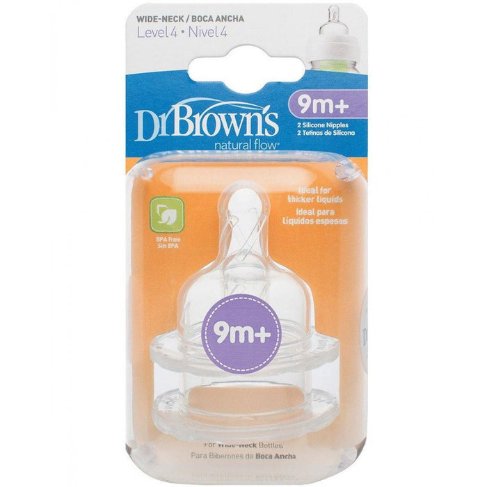 Bottle Teat - Dr Brown's Options Level 4 Baby Bottle Teats Nipple Pack Wide BPA Free 9m+