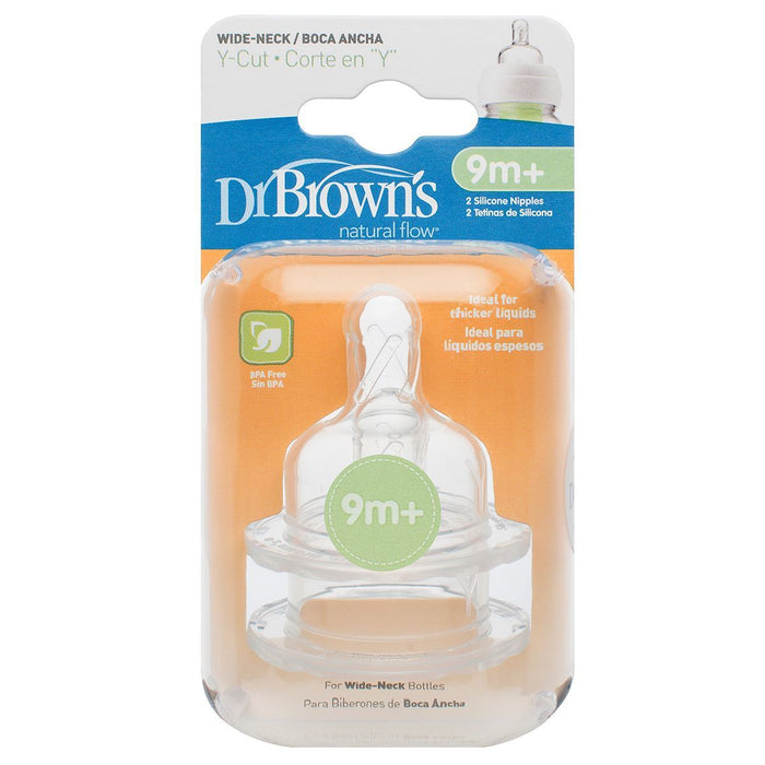 Bottle Teat - Dr Brown's Options Level Y Cut Baby Bottle Teats Pack, Narrow, BPA Free, 9m+
