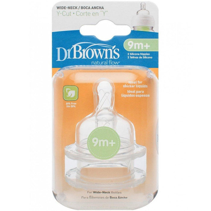 Bottle Teat - Dr Brown's Options Level Y Cut Baby Bottle Teats Pack, Wide, BPA Free, 9m+