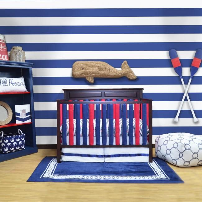 Bumper Guard - Wonder Bumpers Navy & Red 100% Cotton