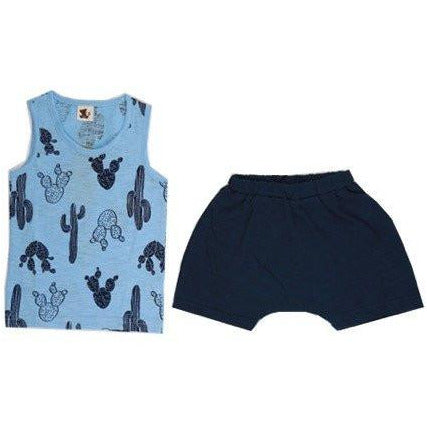 Puco Premium Sleeveless Set - Cactus Blue