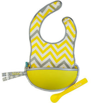 B.box Travel Bib w/ Baby Spoon (Mellow Lellow) - Little Baby